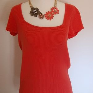 Orange ribbed short-sleeve top Liz& Co
